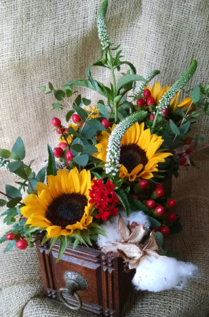 vintage box with flowers  in Pawling, NY | PARRINO'S FLORIST
