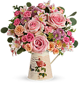 Vintage Chic Bouquet Pitcher Arrangement