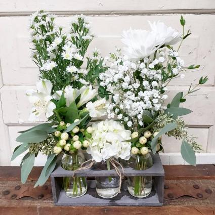Vintage Crate with Whites Crate Arrangement