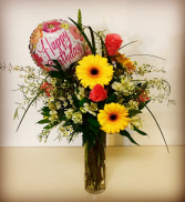Vintage Happy Birthday Vintage & Elegant Floral Design with Wax Flowers