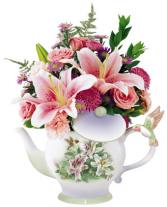 Vintage Hummingbird Teapot Bouquet (**Please phone us for availability.  )