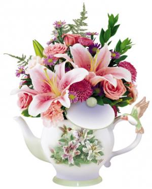 Vintage Hummingbird Teapot Bouquet (**Please phone us for availability.  ) in Winnipeg, MB   KINGS FLORIST LTD