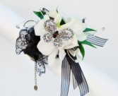 Vintage Lace in Black and White Wrist Corsage