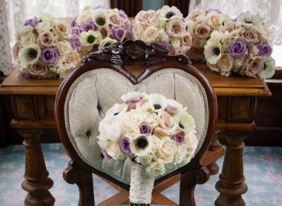 Vintage Lavender Love Bride and (5) Bridesmaids Bouquets