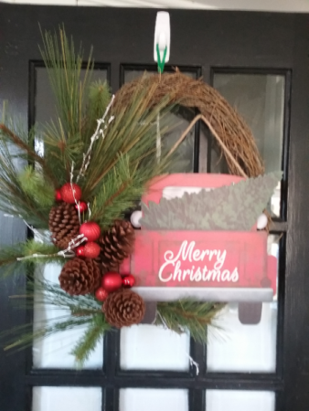 Vintage Merry Christmas Wreath with vintage red truck