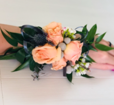 Vintage Peach Rose Corsage
