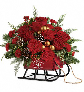 Vintage Sleigh Arrangement by Teleflora Designs in White Oak, PA | Breitinger's Flowers & Gifts