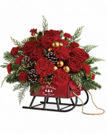 Vintage Sleigh Bouquet Rustic Metal Sleigh hand painted
