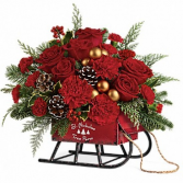 Vintage Sleigh Christmas Arrangement