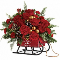 Vintage Sleigh Christmas Arrangement