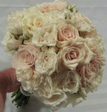 VINTAGE SOFT PINK AND IVORY ROSES AND SPRAY ROSES WEDDING BOUQUET