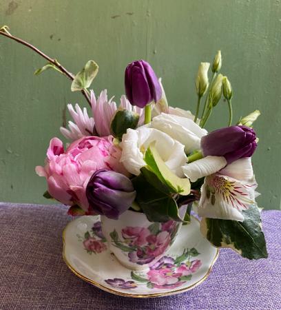 Vintage Tea Cup Flower Arrangement