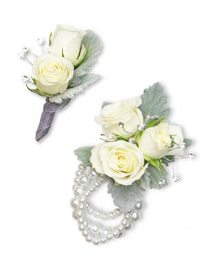 Virtue Corsage and Boutonniere Set Corsage/Boutonniere in Nevada, IA | Flower Bed