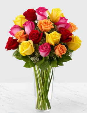Vivacious Colors Rose Arrangement in Canon City, CO | TOUCH OF LOVE FLORIST AND WEDDINGS