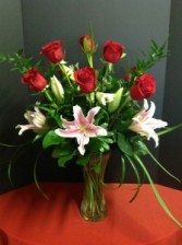 Vivian 9 Red Roses with Pretty Lilies  $75.00