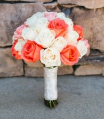 Vivid Coral  Bridal Bouquet