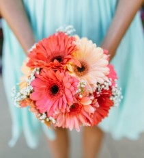 Vivid Coral  Bridesmaid Bouquet