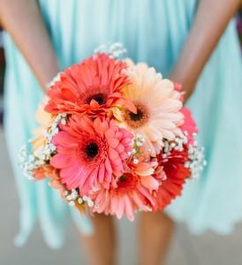 Vivid Coral Bridesmaid Bouquet In Riverside Ca Willow Branch