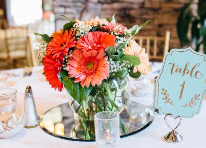 Vivid Coral Wedding Centerpieces In Riverside Ca Willow Branch