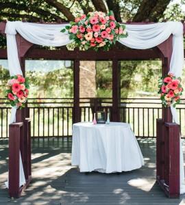 Vivid Coral  Wedding Ceremony Flowers