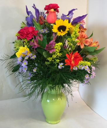Vivid Explosion Florals Tall Full Vase
