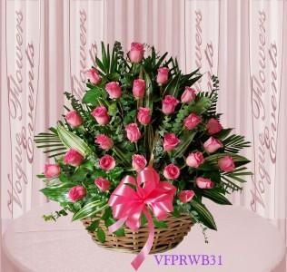 Vogue's Pink Roses Basket Arrangement Basket Arrangement