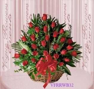 Vogue's Red Roses Basket Arrangement Basket Arrangement