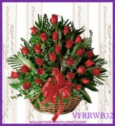 Vogue's Red Roses Basket Basket Arrangement