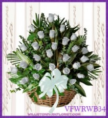 Vogue's White Roses Basket Basket Arrangement