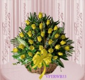 Vogue's Yellow Roses Basket Arrangement Basket Arrangement