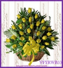Vogue's Yellow Roses Basket Basket Arrangement