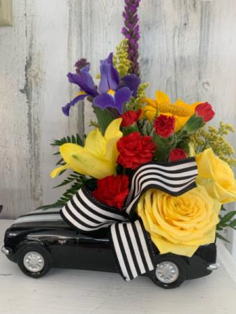 Vroom Vroom Away with Dad Camaro car arrangement