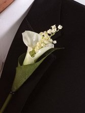 Calla & Lilly of the Valley Wedding Boutonniere