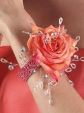 Peach Rose Wrist Wedding Corsage