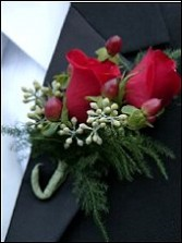 Red Roses with Accents Wedding Boutonniere