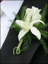 White Orchid & Rose Wedding Boutonniere