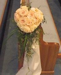 Wedding Ceremony Flowers Rose Heart Pew Marker