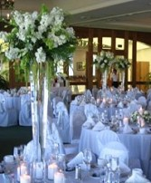 Crisp White Florals Cylinder Vases Wedding Reception Arrangement