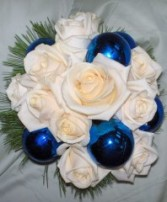 Ivory Roses with Holiday Sparkle Wedding Reception Arrangements