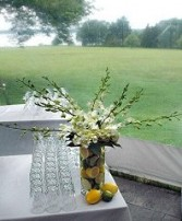 Dendrobium Orchids with a Twist Wedding Reception Arrangements