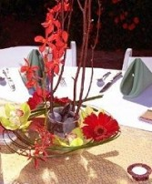 Eye-Catching Red & Lime Green Wedding Reception Arrangements