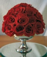 Simple & Elegant All Red Roses Wedding Reception Arrangements