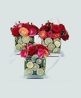 Square Vase Trio of Roses & Limes Wedding Reception Arrangements