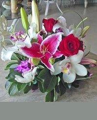 Lily, Orchid & Rose Centerpiece Reception Arrangement