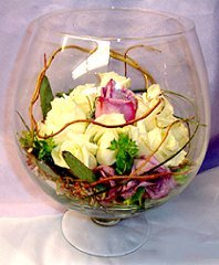 Glass Bowl of Roses & Curly Willow Reception Arrangement