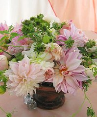 Fresh Pink Peonies Reception Arrangement