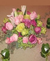 Pastel Roses, Lilies, Hydrangea Centerpiece Grouping