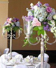 Pastel Candelabra Flowers Reception Arrangements