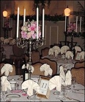 Roses & Pewter Candelabras Reception Arrangements