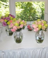 Pastel Rose Bouquets Reception Arrangements
